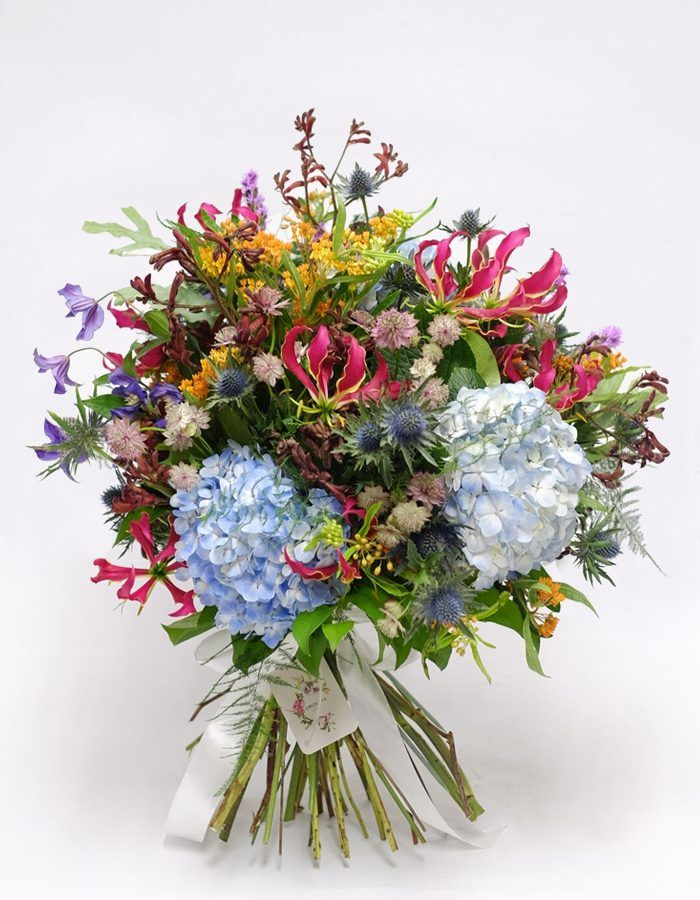 colourful hydrangea and gloriosa fresh flower bouquet for delivery ...