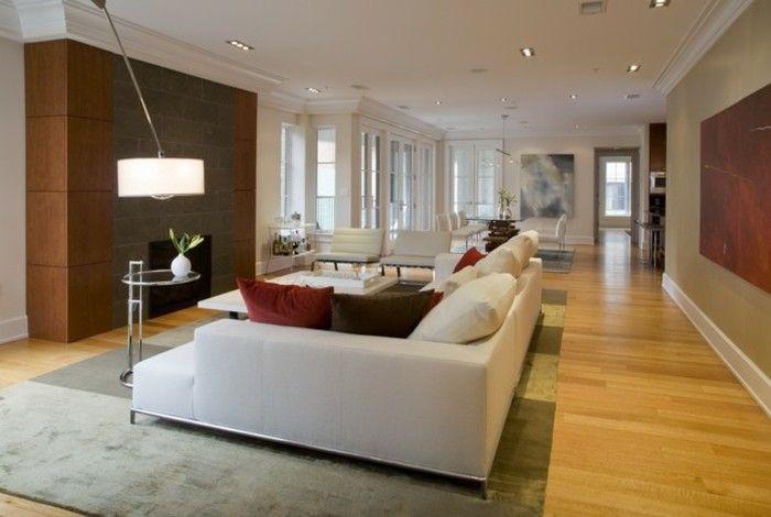 wohnzimmer-streichen-ideen-helle-farben-modernes-weißes-sofa - wohnzimmer ideen petrol