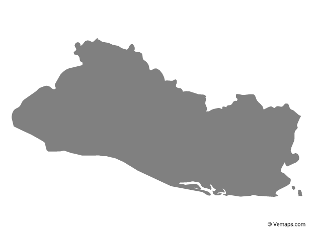 Grey Map Of El Salvador Free Vector Maps El Salvador Salvador Map Vector