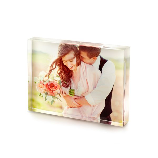 Acrylic blocks are a classy way to frame your wedding