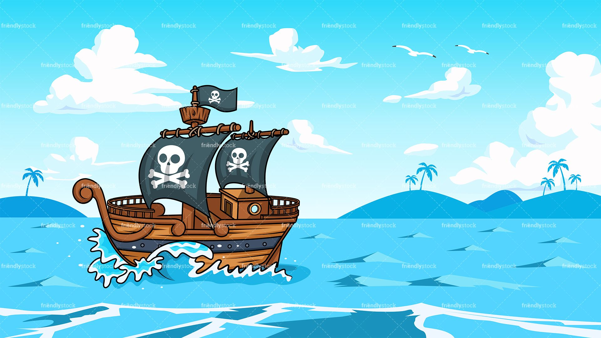 Pirate Ship Sailing The Ocean Background Sea