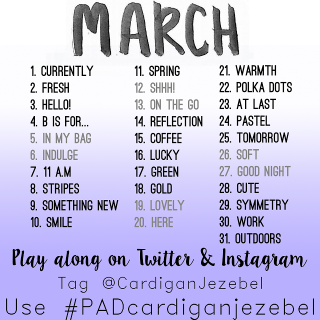 Photo-a-Day Challenge March 2016! Photo challenge for spring time! Via www.cardiganjezebel.com