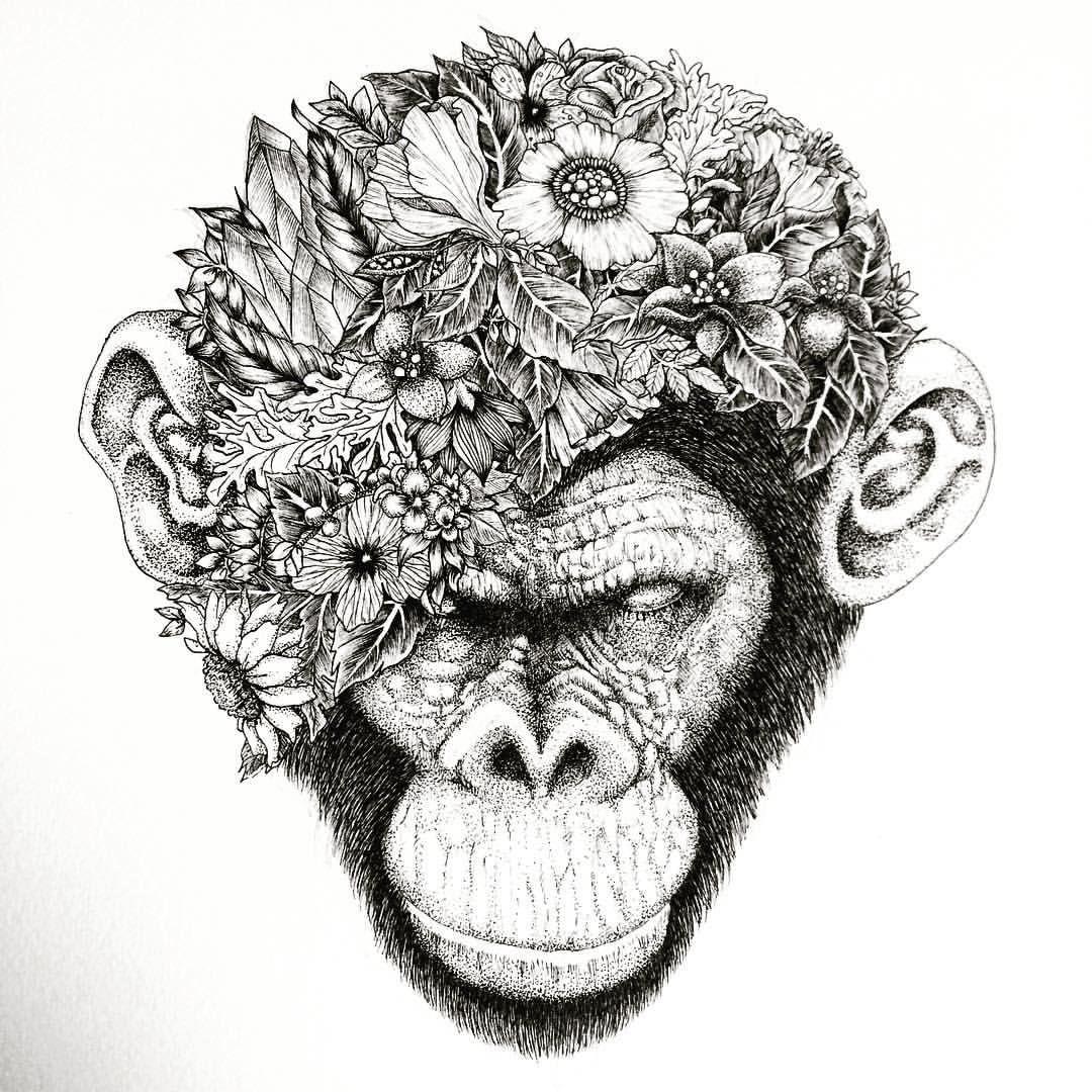2be0648be My latest drawing Botanical chimpanzee #chimpanzee #ape #monkey #draw  #ifindbliss #art #artist #black #blackandwhite #tattoo #ink #noahsart  #japanese ...