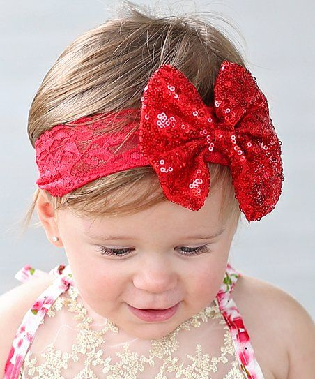 Whitney Elizabeth Red Sequin Bow Lace Headband  8d8a19ca473