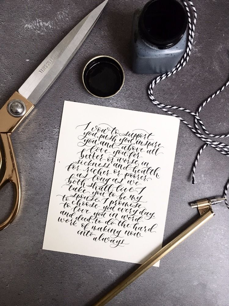 Vows in Calligraphy. Flatlay. Wedding Stationery by Millie