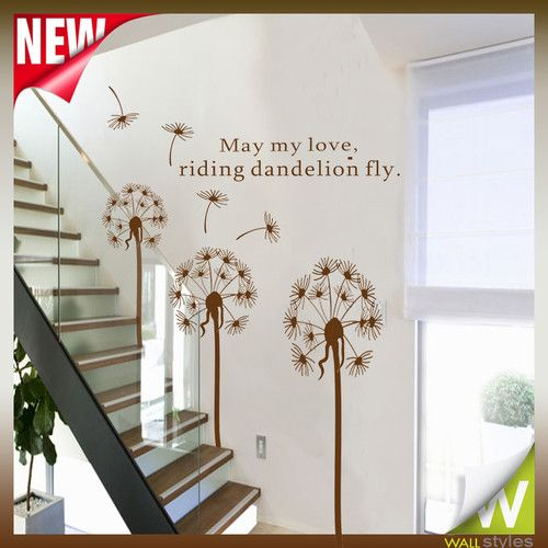 flower tree dandelion wall stickers for bedroom stairs on wall stickers for hall id=90394