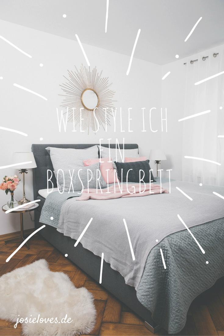 unser neues schlafzimmer mit einem boxspringbett schlafzimmer pinterest bett schlafzimmer. Black Bedroom Furniture Sets. Home Design Ideas