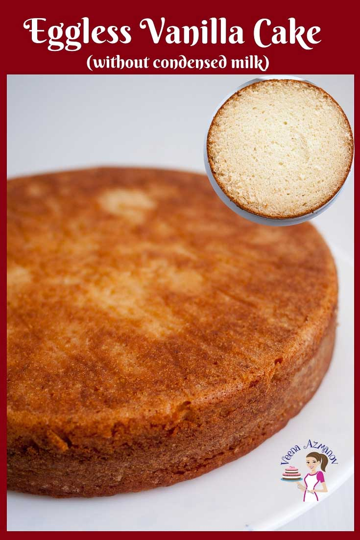 This Eggless Vanilla Cake Recipe Is Moist With A Soft Crumb It Tastes Absolutely Delicious Eggless Vanilla Cake Recipe Vanilla Cake Recipe Eggless Cake Recipe