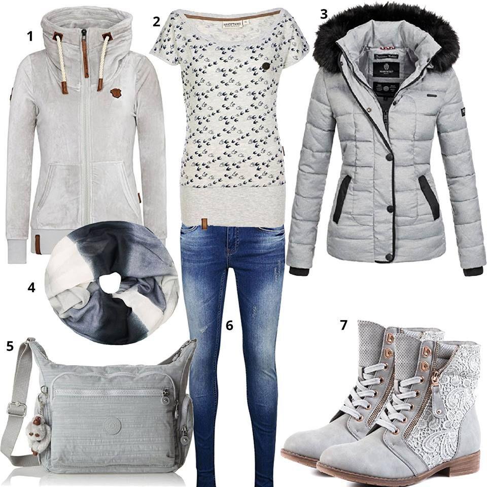 Warmes Winter Outfit in Grün und Brauntönen. Naketano