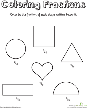 Fractions Shapes Coloring Worksheet | summmer vacation | Pinterest ...
