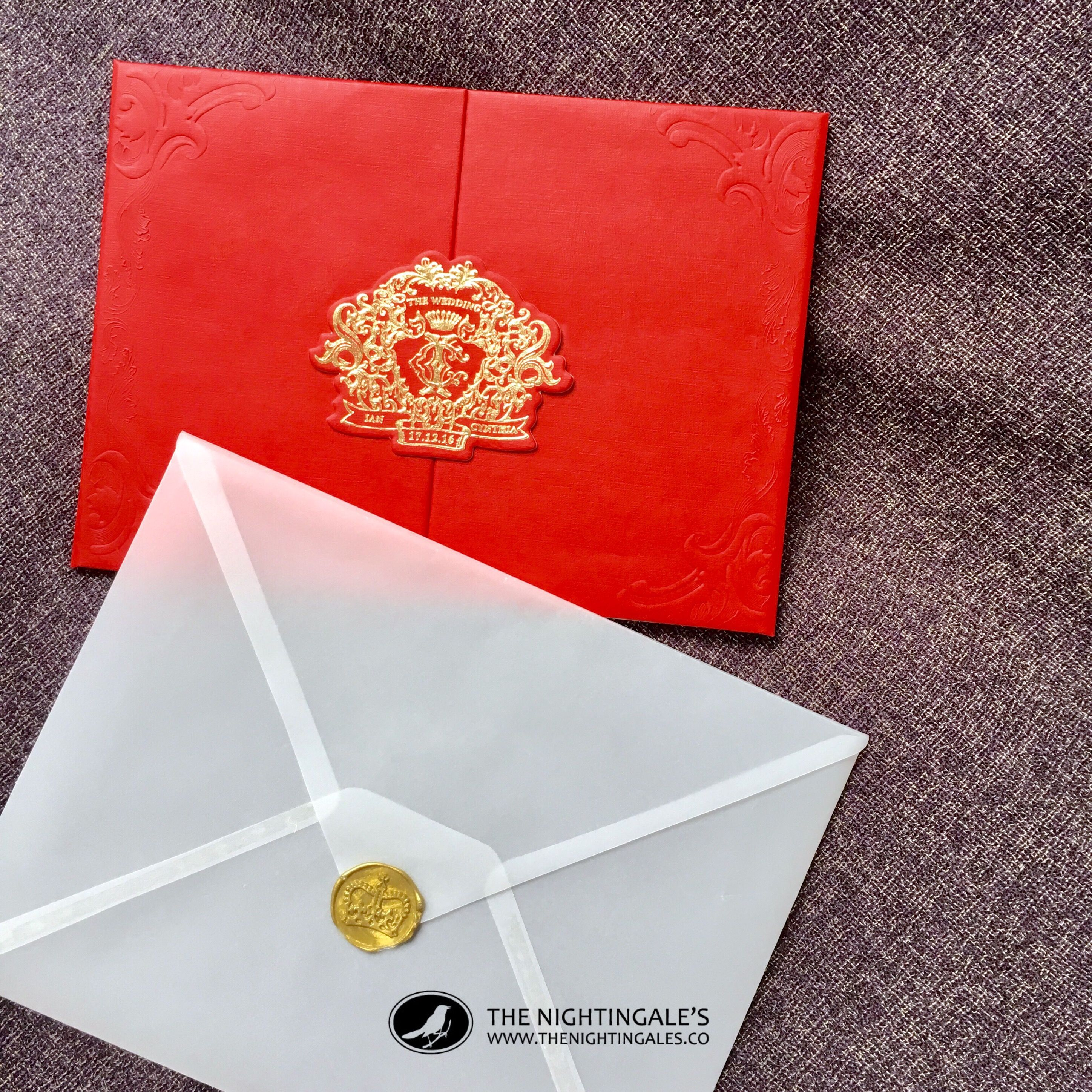 Vellum paper envelope with gold color wax seal for a red and gold ...