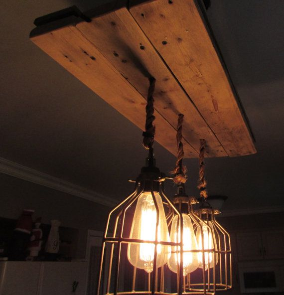 Reclaimed Wood Cage Light Chandelier by JoannasWoodWorks on Etsy