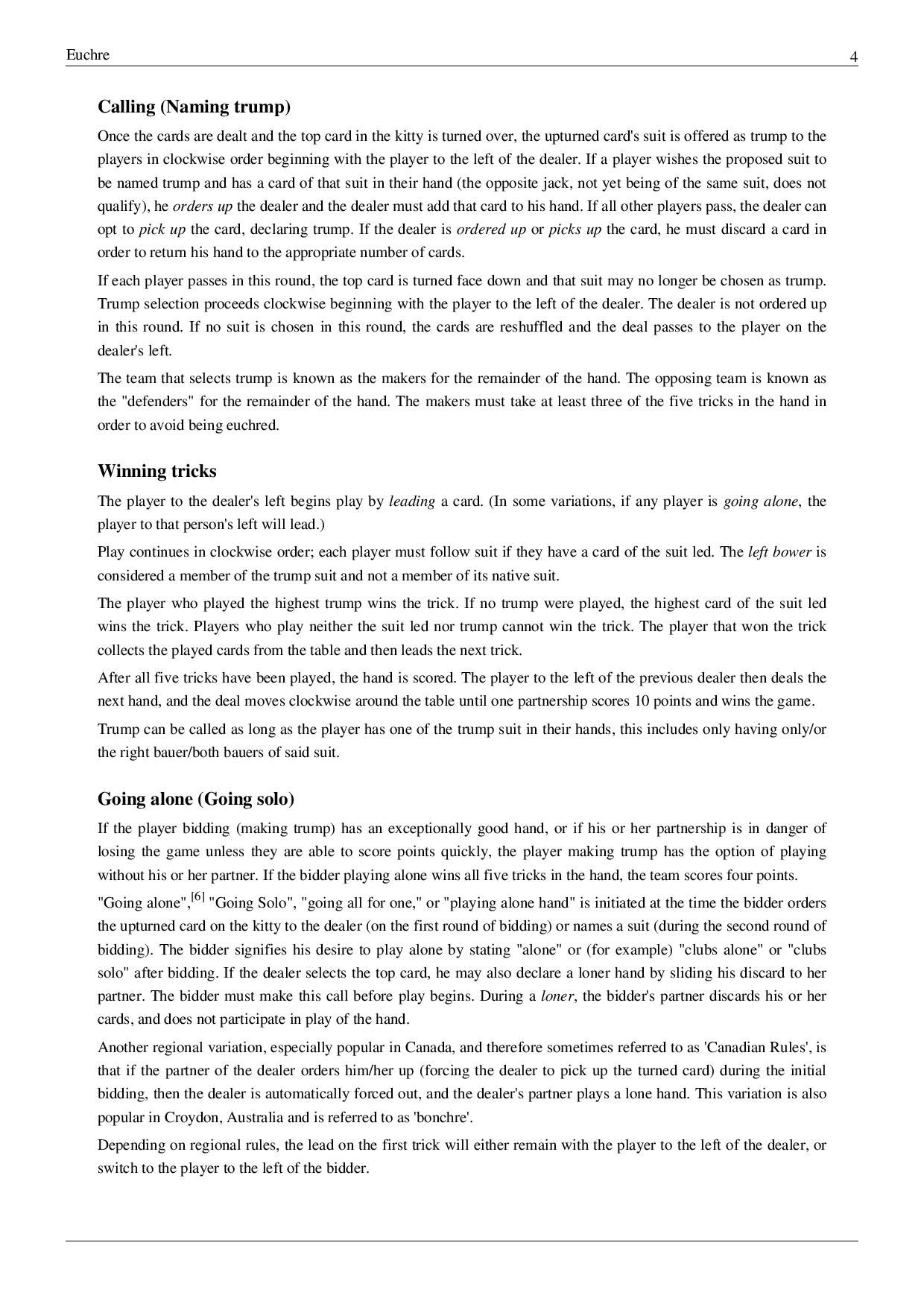basiceuchrerulespage004.jpg Euchre, Poker cards, Rules