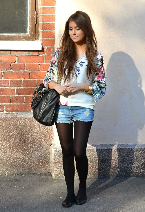 Jean shorts with black tights and wellies. Tights week