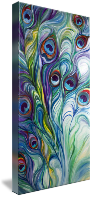 """""""PEACOCK ABSTRACT"""" by Marcia Baldwin: An original oil painting by Marcia Baldwin. This abstraction of the peacock feathers has dynamic design and exciting color. The original has been sold, but please enjoy fine prints from this websit..."""