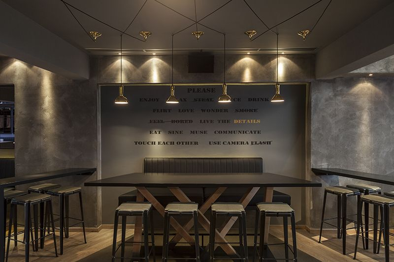 Bar with lighting concept installation designed by Stones and Walls