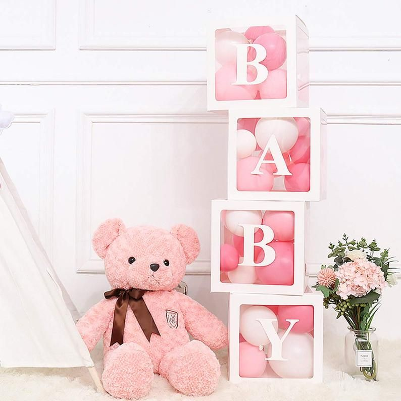 Baby Shower Boxes Transparent Balloon Boxes Baby Shower Decorations Balloon Clear Box Customizable Letters Party Supplies Photo Background In 2021 Baby Shower Box Baby Shower Balloons Balloon Box