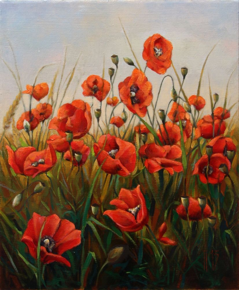 Original oil painting poppies in a field 2 flowers nature original oil painting poppies in a field 2 flowers nature landscape on canvas mightylinksfo Image collections