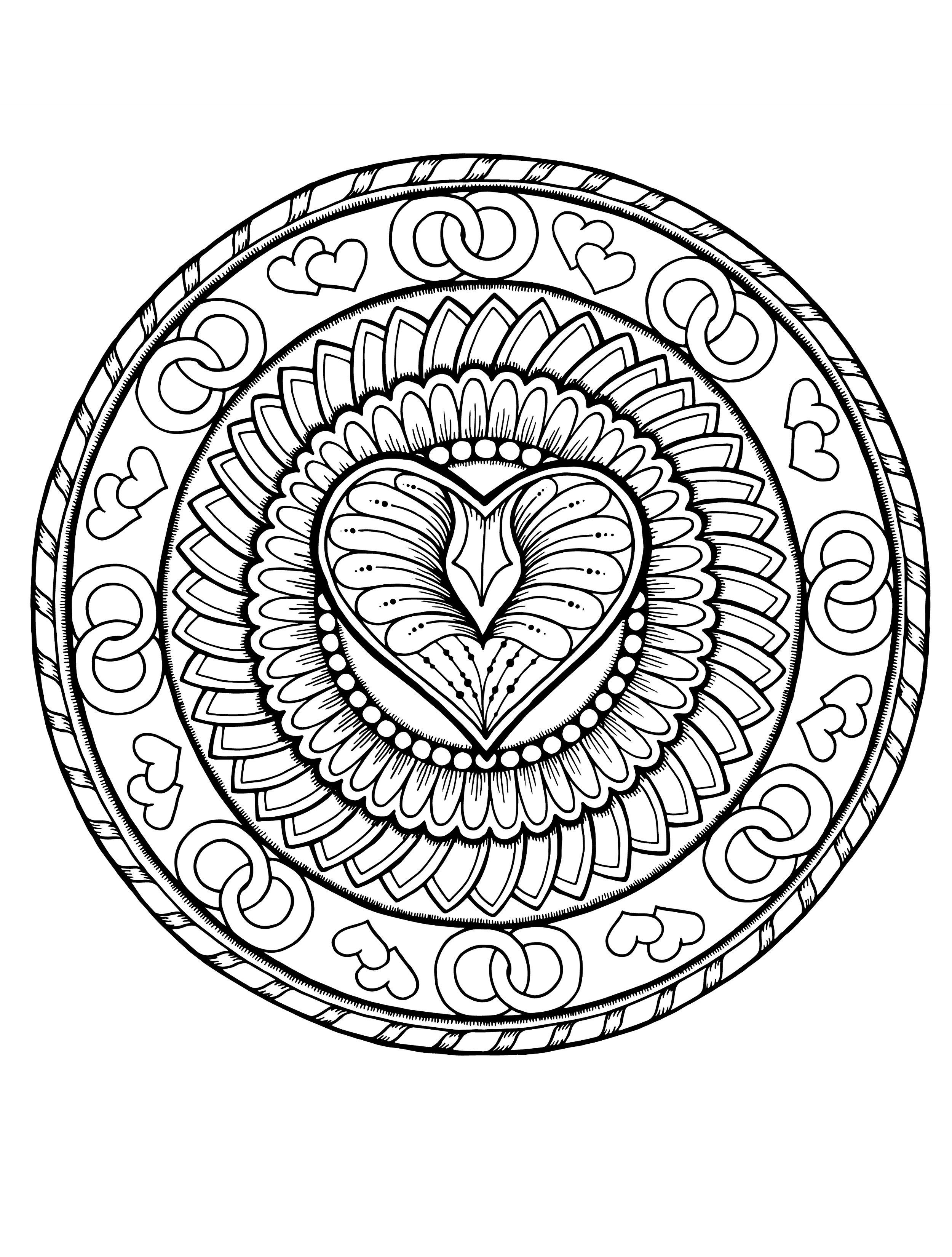 Valentines Mandala Мандала coloring page printable adults Animal ...