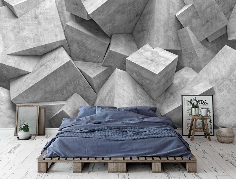 Peel And Stick Wallpaper Concrete Wallpaper Adhesive Modern Etsy Concrete Wallpaper Wallpaper Walls Decor Modern Wallpaper