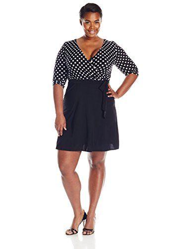 Star Vixen Plus-Size Elbow Sleeve Faux-wrap Dress, Dot Black Skirt - http://www.womansindex.com/star-vixen-plus-size-elbow-sleeve-faux-wrap-dress-dot-black-skirt/