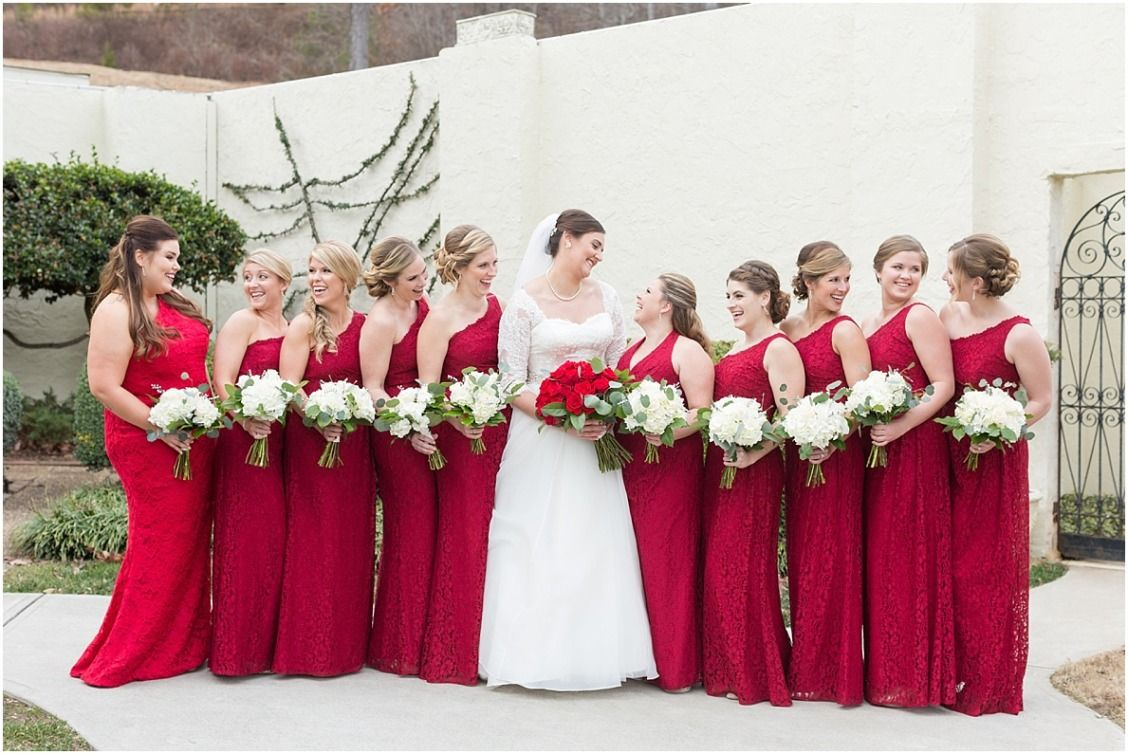 All Red Bridal Party In All Over Lace One Shoulder Bridesmaid Dresses From David S Bridal Bridesmaid Wine Red Bridesmaid Dresses Champagne Bridesmaid Dresses