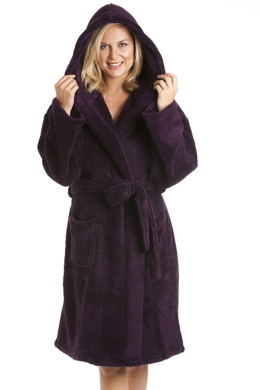 Dark Purple Supersoft Hooded Fleece Bathrobe  cf2c756e5