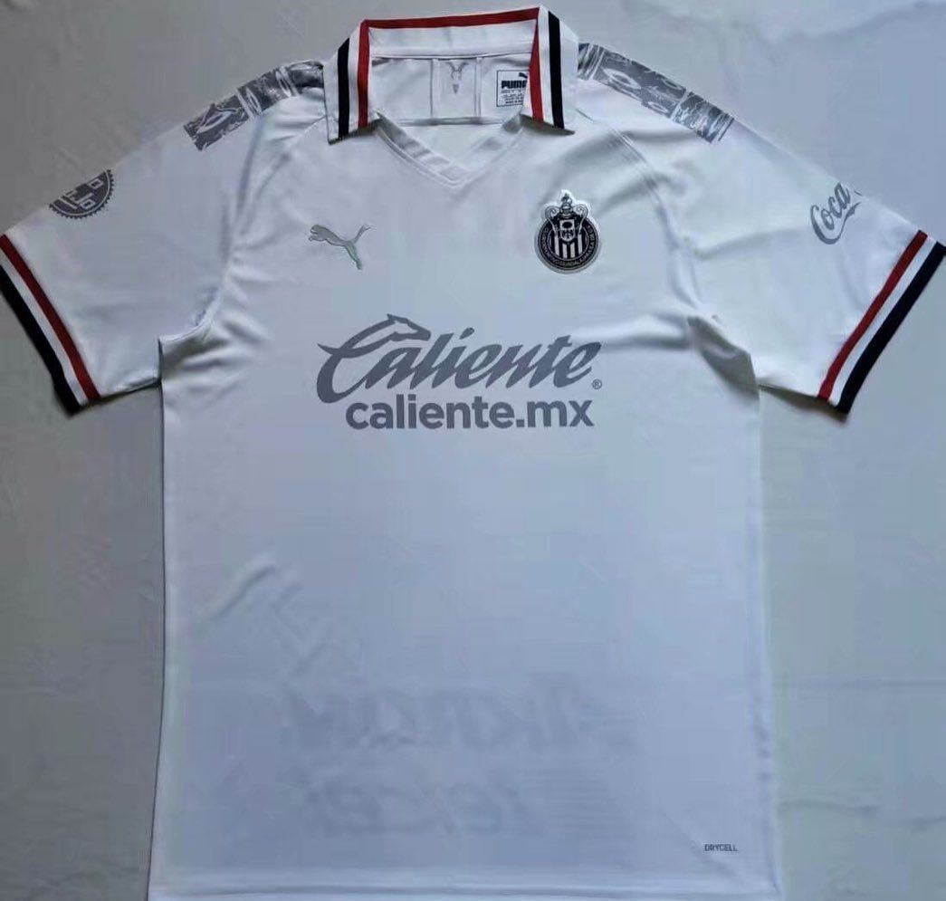 A Clean Look Chivas New 2020 2021 Third Shirt Is Mainly White With Grey And Black Logos And A Blue White Red Det In 2020 Soccer Jersey Chivas Soccer Football Outfits