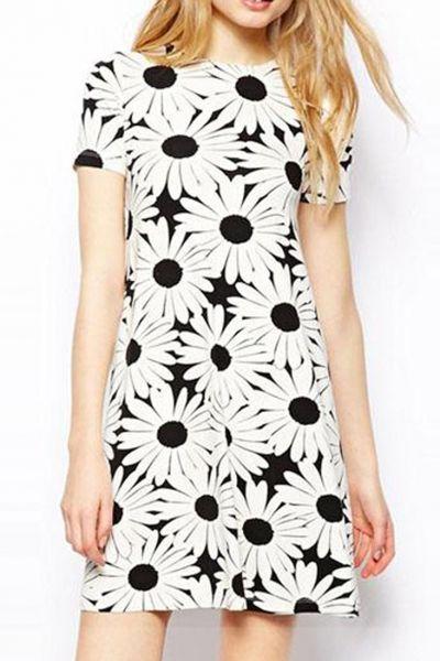 Sweet Daisy Print A Line Dress - OASAP.com