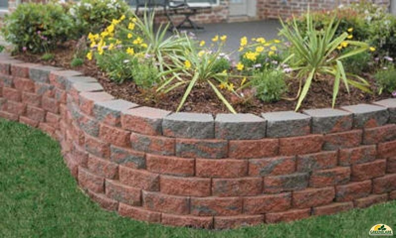 Retaining wall with multi color block blockwall9 stuff for Landscape blocks