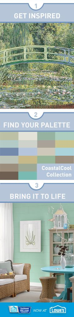 """Looking for the perfect color palette? The easy-going """"Coastal Cool"""" collection from HGTV HOME™ by Sherwin-Williams lives and breathes inspiration from the sand, salt, and sea. Punctuate your walls with cool watercolor blues and dune grass greens to create a fresh, breezy feeling in any room."""