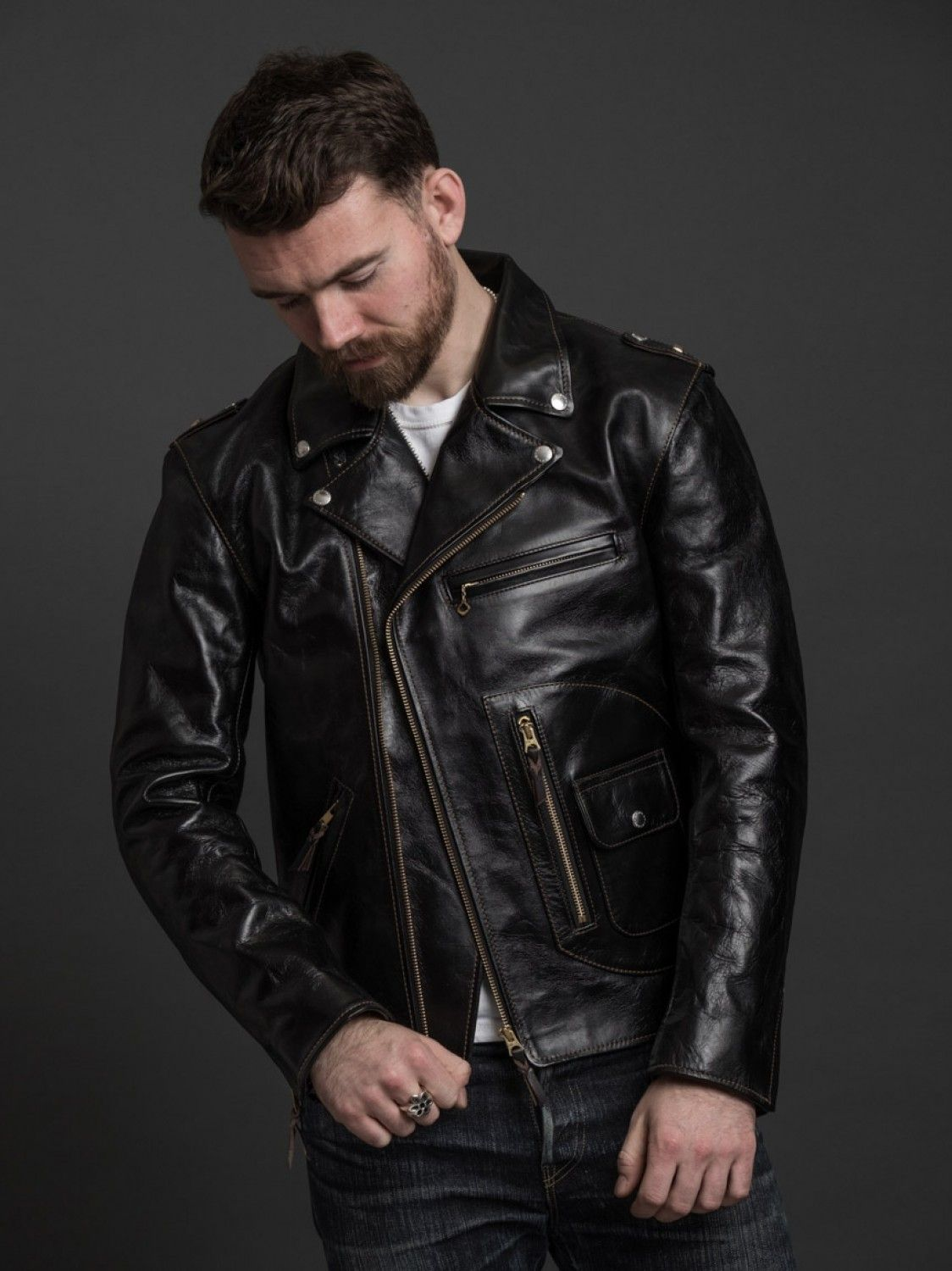 The Flat Head Horsehide Rider S Jacket Leather Jacket Leather Jacket Men Celebrities Leather Jacket [ 1500 x 1124 Pixel ]