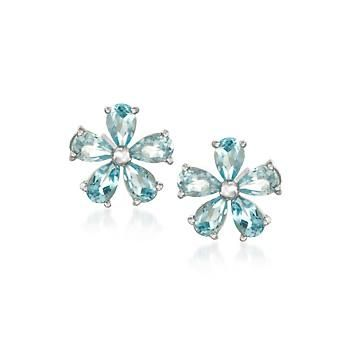 Ross-Simons - 2.30 ct. t.w. Blue Topaz Flower Earrings in Sterling Silver - #833341