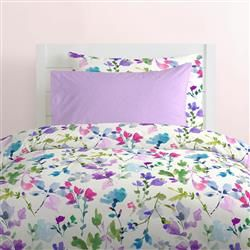 Wildflower Garden Kids Bedding is part of Big garden Kids - Reminiscent of fields of wildflowers in the springtime, this stunning collection will fill your daughters room with brightly colored flowers  Lovely hues of lilac, amethyst and teal combine perfectly in a watercolor effect to create this unique fabric