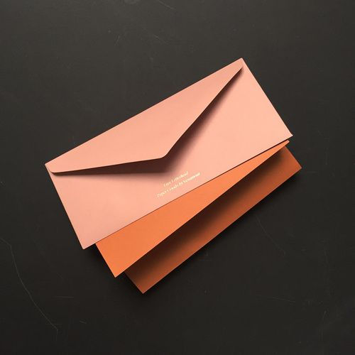 Package of Four Hand-Printed Love Letterheads (Rose Envelope & Rust Enclosure)