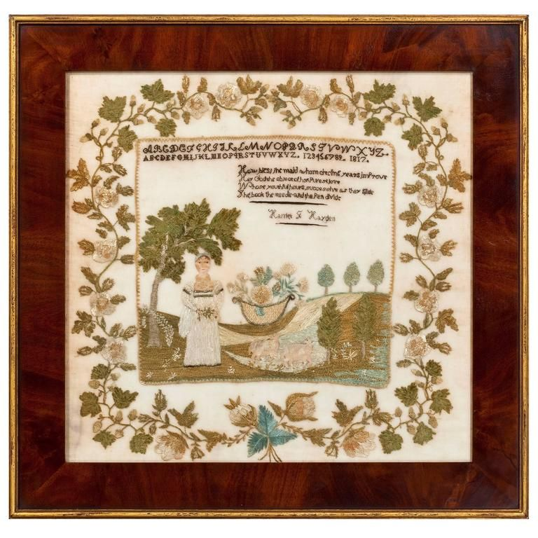 Outstanding New Hampshire Sampler, Dated 1817 | From a unique collection of antique and modern more folk art at https://www.1stdibs.com/furniture/folk-art/more-folk-art/