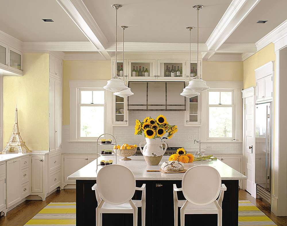 Wall Color Kitchen White Cabinets Yellow Walls Google Search Yellow Kitchen Walls Kitchen Design Color Kitchen Color Trends