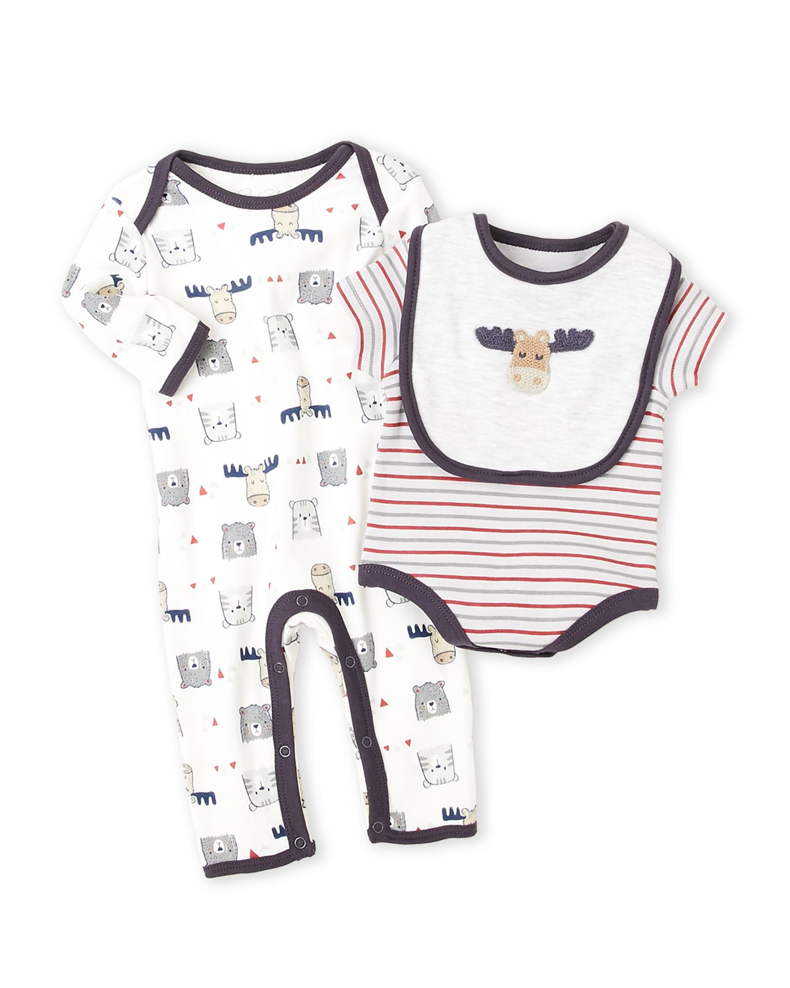Rene Rofe Newborn Infant Boys 3 Piece Cow Bodysuit & Coverall Set