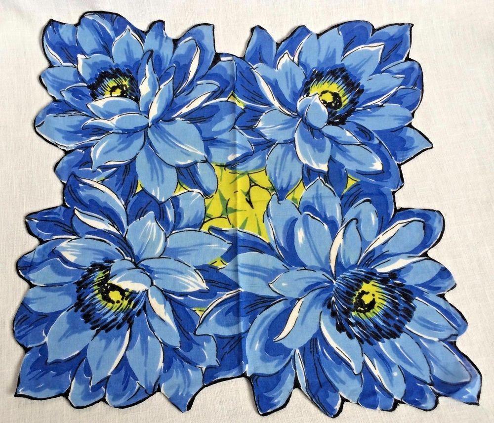 Shaped Blue Flower Vintage Cotten Handkerchief 12 X 12 12 Blue