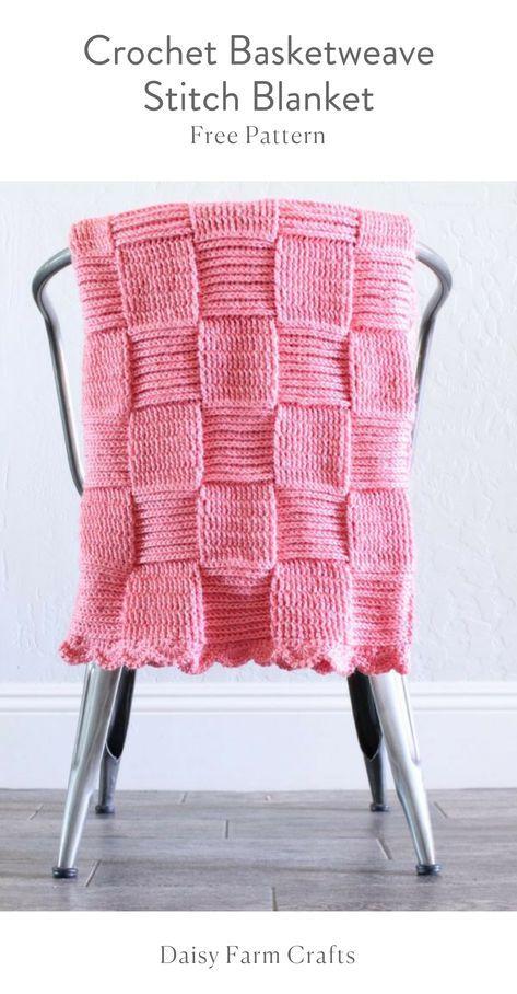 Free Pattern - Crochet Basketweave Stitch Blanket | Häkeln ...