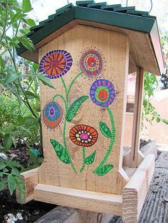 Image result for painted bird feeder