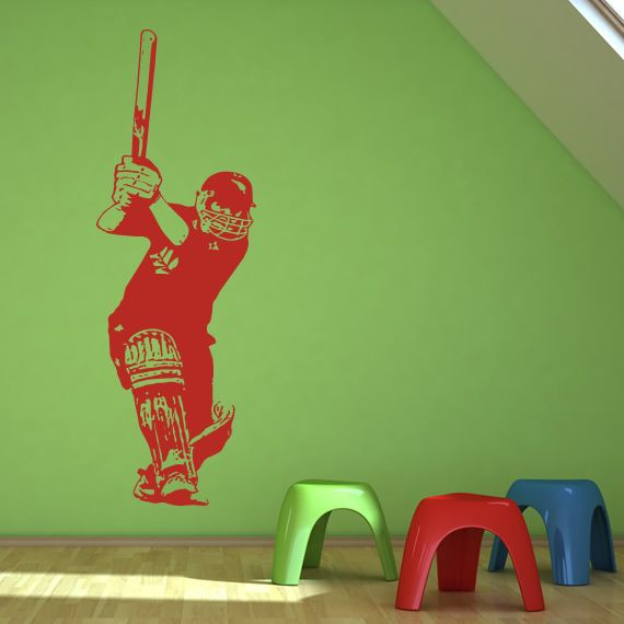 details about batsman cricket sports and hobbies wall decal wall art stickers transfers - Sports Wall Stickers For Bedrooms