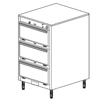 "Duke 1453 Thermotainer Hot Food Storage Unit by Duke. $11861.64. Catering and Buffet Supplies >Hot Food Storage Units. 1453. Duke. Thermotainer Hot Food Storage Unit 3-compartment (6) 12x20x2"" pans per compartment s/s const fiberglass insulation common thermostat control 6""adjustablelegs internal compartment measures 9""Hx22""Wx28-1/2""D 100-300F heat range power switch & thermo"