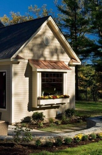 Small Bay Window With Copper Roof Windows Exterior Bay Window Exterior Farmhouse Design