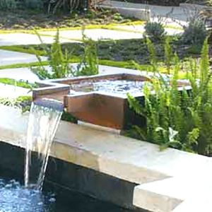 Fire Water Scupper Bowls For Pools Water Features In The Garden Pool Fountain Pool Remodel