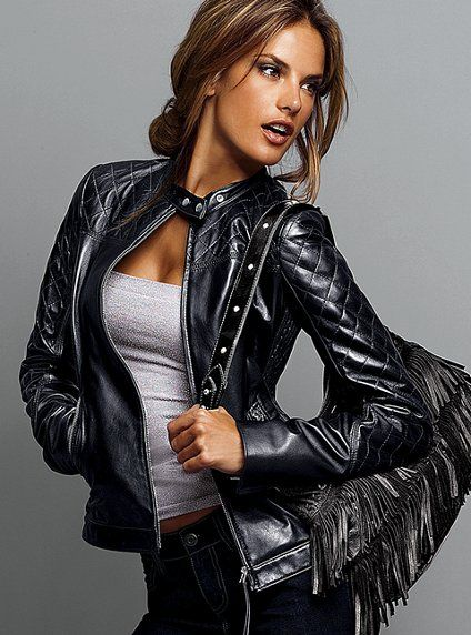 Victoria's Secret leather quilted motorcycle jacket
