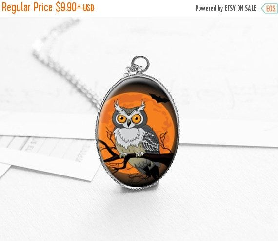 SALE Holidays Gift Wise Owl Necklace Fall by petiteVanilla on Etsy