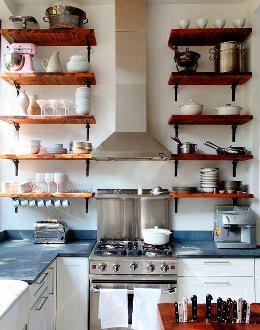 cocina-con-baldas-de-madera | DECORACIÓN | Pinterest | Madera ...