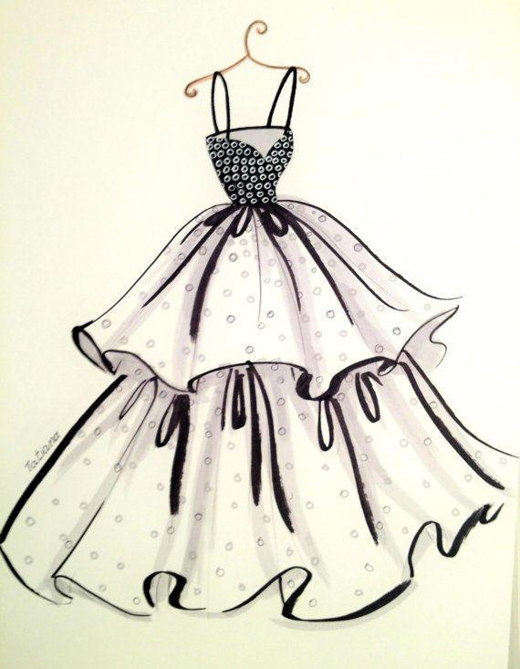 original fashion illustration chic dress pinterest illustration mode mode. Black Bedroom Furniture Sets. Home Design Ideas