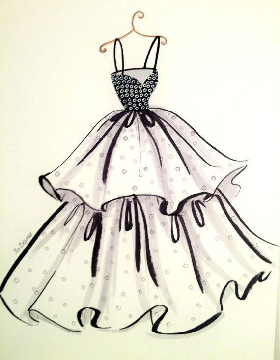 Original Fashion Illustration Chic Dress
